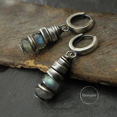 Handmade earrings are made of oxidized silver 925 and labradorite (quality AA)  Dimensions: Single earrings weight: 3,2g The whole length: 1,34 inches (3,4 cm) Stones: 0,25 inches (7 mm)   READY TO SHIP  We pack all the items in corporate boxes (visible in some offers). We ship all the consignments as priority registered consignments in well protected cartons.  Thank you for visiting