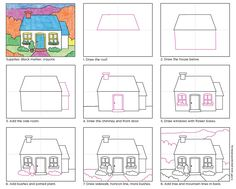 Draw a Cottage · Art Projects for Kids Art Drawings For Kids, Drawing For Kids, Painting For Kids, Easy Drawings, Art For Kids, Learn Drawing, Art Handouts, Directed Drawing, Cottage Art