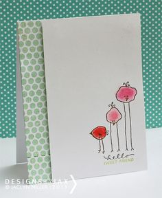 Gosh, this card from Jaclyn Miller is just the sweetest! Love those little birds (from the Chickadees by Lori Vliegen stamp set from TechniqueTuesday.com).