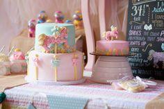 Carousel Pastel Girls Party Birthday Cake