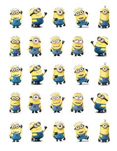 """Despicable Me Minions Printable Party approx. 1.5"""" height. Cutouts for Cupcakes, Favors, Toppers, Stickers...:"""