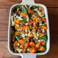 Roast Vegetable, Spinach and Couscous salad - VJ Cooks. Roasted Vegetable Couscous, Roasted Vegetables, Veggies, Halloumi Salad, Couscous Salad, Best Ever Potato Salad, Christmas Salad Recipes, Christmas Recipes, Smoked Salmon Salad