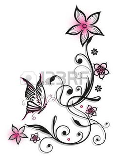 Pink and black flowers with butterfly, summer time photo