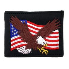 Embroidered Eagle on American Flag Men's Black Leather Bifold Wallet