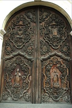 Carved main door of St. Agustin Roman Catholic Church -- Manila, Philippines