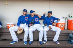 Kris Bryant, Anthony Rizzo, Addison Russell. Chicago Cubs 2016.