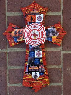 Firefighter Cross with personal pics Reserved for by Lmorales52, $40.00