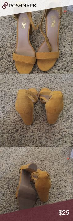 Yellow heels size 8 Brand new without tags never used yellow ankle strap heels! Size 8! Heel I would say is about 4 in brash Shoes Heels