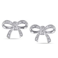 10k white gold, diamond accent earrings  http://www.overstock.com/Jewelry-Watches/Miadora-10k-White-Gold-Diamond-Accent-Bow-Stud-Earrings/4835332/product.html