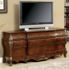 Furniture of America Beorson Carved Buffet/TV Console - IDF-3243HB-B