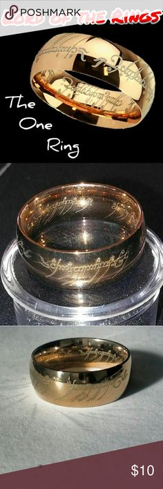 "Lord of the Rings The One Ring This is for one, brand new, rose gold, solid stainless steel ring inspired by the ""one ring"" from Lord of the Rings! It features laser etched inscriptions around the inside and outside of the band.  Translated, the words mean: ""One ring to rule them all, one ring to find them, One ring to bring them all and in the darkness bind them.""  Sizes Available: (6mm width)- 5, 6, 7, or 8 (8mm width)- 12 or 13  Vintage Vitti Jewelry Rings"