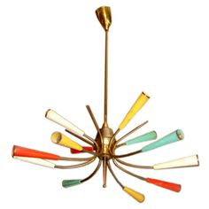 Colorful 12 light Italian chandelier - 1950's Atomic brass chandelier with red, aqua, yellow and white enameled bobeches.