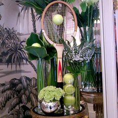 It's the start of another week of tennis at Wimbledon - we've suitably prepared the flowers in the Front Hall to get into the spirit! Have you spotted this delightful display? #london #luxury #hotels #thegoring #wimbledon #tennis #display
