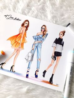 New York Fashion Week recap — Fashion and Beauty Illustrator Rongrong DeVoe - Fashion sketches of Jessica Wong from NotJessFashion by fashion illustrator Rongrong DeVoe - Fashion Design Inspiration, Fashion Design Portfolio, Fashion Design Drawings, Mode Inspiration, Fashion Sketches, Fashion Model Sketch, New York Fashion, Fashion Art, Fashion Models