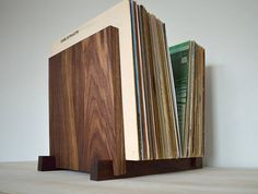 Black Walnut Vinyl Record Storage Display  Holds 30 40 50