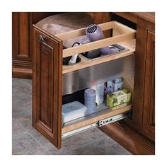 Rev-A-Shelf pullout grooming organizer designed to fit vanity cabinets. Features adjustable shelves & stainless steel bins for curling irons & hair dryers. Laundry Room Storage, Kitchen Cabinet Organization, Bathroom Storage, Cabinet Organizers, Bathroom Ideas, Bath Ideas, Bathroom Vanities, Kitchen Organizers, Bathroom Hacks