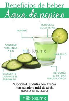 Beneficios del Agua de Pepino: agua (3 tazas) + endulzante al gusto (por ej. mascabado y/o azúcar de coco) y ya que está el agua revuelta con el endulzante, se licúa con 1 pepino (pelado si no es orgánico) y con 1 limón pelado sin cáscara (o sólo el jugo). Se le puede agregar unas hojitas de menta y todo a se va a licuadora y se cuela.  Se le agrega hielos y una taza más de agua y LISTO!! #EnTransiciónProVida www.facebook.com/EnTransiciónProVida