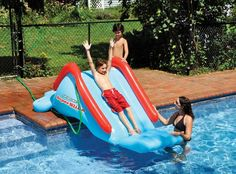 Installing Pool Water Slide for Kids