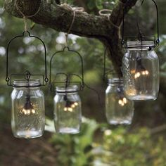 Mason Jar Lanterns with Solar String Lights. Glass Mason Jar Solar String Lights Look Like Fireflies Mason Jar Solar Lights, Mason Jar Lanterns, Mason Jar Lighting, Jar Lights, Mason Jar Lamp, Glass Lights, Solar Lanterns, Votive Candles, Backyard Solar Lights