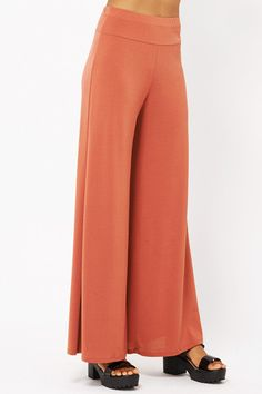Palazzo Trousers in Terracotta - Bow and Arrow Boutique  - 1