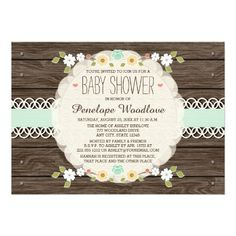 """MINT RUSTIC FLORAL BOHO BABY SHOWER INVITATIONS 5"""" X 7"""" INVITATION CARD"""