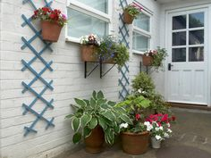 Window Boxes and lattice add visual interest and planting space to a porch garden.