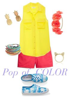 """""""Pop of color"""" by hannahraye18 ❤ liked on Polyvore featuring J.Crew, Equipment, maurices, Charlotte Russe, Vinca and Aamaya by Priyanka"""