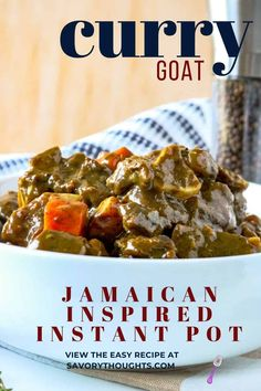 Curry goat is a Jamaican classic that is a staple of Caribbean cuisine. This Jamaican inspired curry goat a one pot recipe with an exciting blend of spices, combined with tasty, tender meat that packs in flavor with every bite. #currygoat #instantpot #haitianrecipes