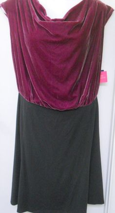 Liz Claiborne Dress New 24W Plus Size Sleeveless Black Purple Velvet Spandex #LizClaiborne #Cocktail