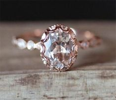 Vintage Morganite Engagement Ring VS 68mm Oval Cut Morganite