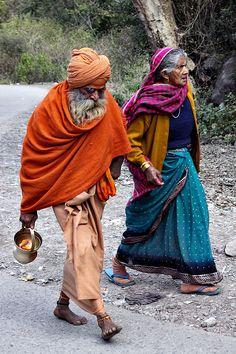 Sadhu and woman - Uttarakhand, India