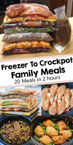 These easy crockpot recipes can be prepared ahead of time and frozen to save time during the busy weeknights. Put all ingredients in a ziplock bag and freeze. Prep a week or even 30 days worth of crockpot freezer meals in just a couple of hours and you'll Slow Cooker Freezer Meals, Slow Cooker Recipes, Cooking Recipes, Chicken Freezer Meals, Freezer Cooking, Budget Freezer Meals, Make Ahead Freezer Meals, Crock Pot Freezer, Best Meals To Freeze