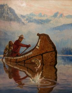 Canadian Mounted Policeman and Guide in Canoe - Arnold Friberg Canoe And Kayak, Canoe Trip, Kayaking, Canoeing, Canadian History, Le Far West, Art Graphique, Mountain Man, Outdoor Art