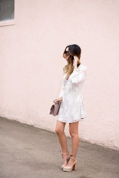 Floral Dress + Blush Platforms