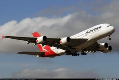 Qantas A380-842 climbing away from  runway 16 in Melbourne  Photographer John Richard Thomson