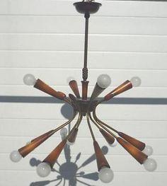 60 jaren houten hang lamp 12 lichtpunten Sputnik lamp