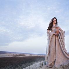 """Fantasy linen robe """"Wanderer"""" with ample hood, wide floor-length skirt and volume sleeves. Available for worldwide shipping."""