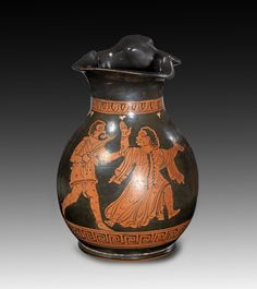 Apulian red-figure chous of the Truro Painter. About 370 B. Scene from the theatre: two phlyakes give (most probably) a scene of the Odyssey: Odysseus with drawn sword pursueing the magician Circe. Minoan, Vase, Pottery Making, Greeks, Art Object, Greek Mythology, Antique Art, Ancient Art, Munich
