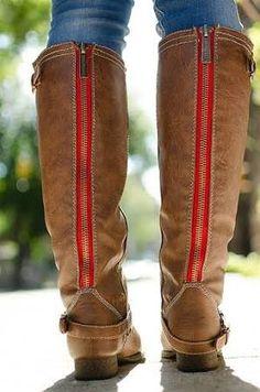 red zipper riding boots