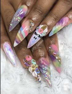 Many people have a passion for unicorn nails. And Unicorn nails are becoming a unique trend. If you think you have a different opinion, you should take a closer look at this list of Unicorn nail designs right away. We are convinced that even those w Unicorn Nails Designs, Unicorn Nail Art, Dope Nails, Bling Nails, My Nails, Nail Art Designs, Christmas Manicure, Nail Decorations, Beautiful Nail Art
