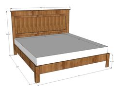King size bed plans Or king size mattress no need for box springs with this platform bed Free plans to build a fancy farmhouse Farmhouse Furniture, Furniture Plans, Diy Furniture, Bedroom Furniture, Furniture Design, Farmhouse Bed, Luxury Furniture, Furniture Makeover, Antique Furniture