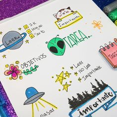 Ideias para cadernos Violet Things violet color stands for Bullet Journal School, My Journal, Bullet Journal Inspiration, Cute Notes, Pretty Notes, Stabilo Boss, School Notebooks, Decorate Notebook, School Notes