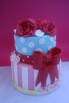 Cath Kidston inspired - I did this cake for two teenage girls, wanted to do something bright and spring like so thought of Cath Kidston whose colours I love. The cake itself is all carrot cake