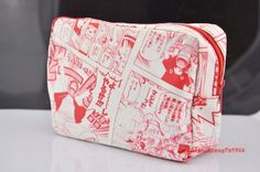 Back to School One Piece Red White Luffy Anime Pencil Bag Cosmetic Bag Painting