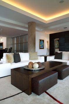 Modern Loft Living Room Jackie Suskind Ottoman Coffee Table