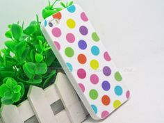 Hot!Cute Design Polka Dot Spot Silicon Soft Cover Cases For Apple iPhone4 iPhone4S Case For iPhone 4 iPhone 4S 4G Shell-S-E-U:WK