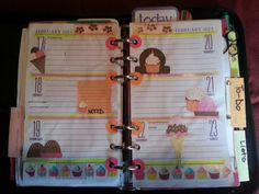 "My ""week 8"" decorations. Supplies: yellow highlighter, skinny pink sticker strips, hole reinforcements-colored pink orange, cupcake washi tape, cherry stickers, printed scrapbook embellishments from iScrapbook-ice cream cones, candy, cupcake tab, cupcake journaling block scrapbook labels (top of each page). I love these pages! I had fun putting it together!"