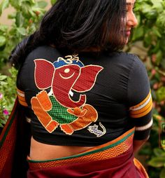 We found this really cool brand called अबnoरmal (Abnormal) from where you can get different and quirky saree blouse designs for parties Simple Blouse Designs, Stylish Blouse Design, Saree Blouse Designs, Embroidered Blouse, Ganesh Design, Unique, Cotton Painting, Fabric Painting, Indian