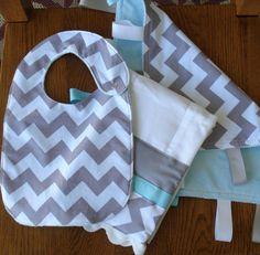 Grey Chevron and Light Aqua Minky Baby Gift Set  by laurelwhite