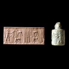 white & cream calcite marble cylinder seal 3200bc uruk